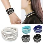 NEW Women Like Crystals 2wrap Around PU Leather Adjustable Bracelet Fashion Hot