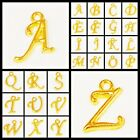 Gold Plated Letter Charm Beads 2pcs, pick your letter for DIY Jewelry