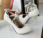 Fashion womens bow waterproof cross buckle patent leather high-heeled shoes