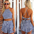 CHIC Womens Summer Crop Top Mini Playsuit Jumpsuit Shorts Ladies Beach Sun Dress