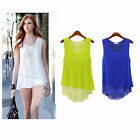 Summer Womens Fashion Simple Style Sleeveless Splicing fake two chiffon dress