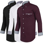 Men's New Fitted Long Sleeve Shirts Plain Cotton Casual Dress Shirt Wear To Work
