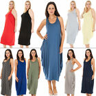 New Womens Italian Lagenlook Plain Sleeveless Tulip Midi Dress One Size Plus