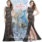 DEBORAH Black Lace Maxi Prom Evening Bridesmaid Ballgown Dress UK 6 - 18