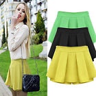 Pinup Women Girl's High Waist Pleated Korean A-Line Casual Skirt Shorts Culotte