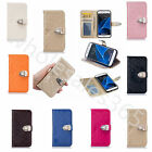 High Quality Leather Metallic Buckle Stand Card Holder Wallet Case Cover F Phone