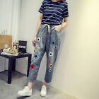 New  Women Vintage High waist  Casual Embroidery Denim Pants Trousers Jeans Plus