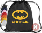 Personalised Batman kit bag. Drawstring gym PE school - add child's name