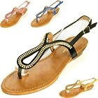 Womens Rhinestone Sandals Slingback Flats Heeled Flip Flops Sparkle Thong Shoes