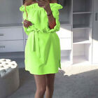 1 Pc Candy Color Casual Boat Neck Mini Summer Ladies 3/4 Sleeved Split Dress
