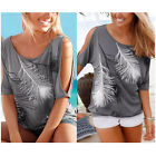 Sexy Fashion Women Short Sleeve Loose Casual Feather Blouse Print T-shirt Tops