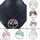 Gift Fashion Stainless Steel Leather Rope Chain Crystal Tree Pendant Necklace