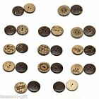 50PCs Sewing Coconut Shell Buttons 2Holes Pattern Brown M0892