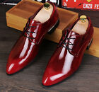 L Stylish Men Pu Patent Leather Lace Up Business Loafers Pointy Toe Wedding Shoe