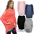 Womens Oversized Cold Shoulder Top Ladies Longline Cut Out Shoulders Loose Shirt