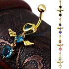 Angel Wings Belly Ring Navel Piercing Bar Zircon Crystal Surgical Steel 5 Colors