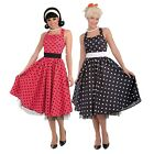 Ladies 1950s 50s Day Dress Polka Dot Red Black Hen Do Fancy Dress Costume Outfit