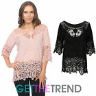 WOMENS KNITTED CROCHET TOP LADIES LACE TRIM ITALIAN KNITWEAR TUNIC TOP