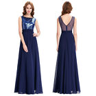 Elegant Bridesmaid Sequined Chiffon Gown Evening Prom Party Dress Formal Long