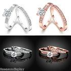 1Set/2PCS Women Charm Wedding Promise Ring & Crystal Rhinestone Size 8
