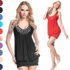Glamour Empire Women's Sleeveless Bubble Tunic Jersey Dress With Metal Studs 024