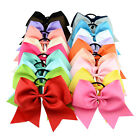"8"" Cheerleading Ribbon Bows Grosgrain Cheer Bows Tie Elastic Band Baby Girl"