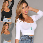 CHIC Women's Round Neck Long Sleeve Crop Tops Short Casual Blouse Shirt Clubwear