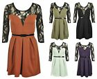 NEW LADIES LACE PANEL LONG SLEEVE SKATER WOMENS PLEATED STRETCH BELT DRESS 8-14