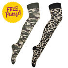 New Womens Army Camouflage Leopard Print High Ladies Long Overknee Cotton Socks