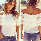 Fashion Women Off Shoulder Floral Casual Tops Blouse Lace Crochet Chiffon Shirt