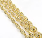 "18-26"" 4mm 10k Yellow Gold Interlocking Mariner Anchor Curb Chain Necklace Mens"