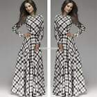 Women Sexy Tartan Plaid Check Long Sleeve Cocktail Party Evening Gown Maxi Dress