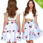 Womens Crop Top + Floral Print Skirt Summer Casual 2 Pcs Outfit Sets Party Dress