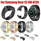 Stainless Steel Leather Watch Band Strap + Connector For Samsung Gear S2 RM-R720