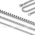 5x 1.5mm-3mm Mens Womens Silver Stainless Steel Square Box Link Chain Necklace