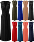 Womens Twisted Knot Maxi Dress Ladies Sleeveless Plain Full Length Sizes 8-22