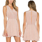 Fashion Women Polka Dot V-neck Sleeveless Party Evening Cocktail Mini Dress NEW