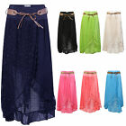 WOMENS BELTED LACE LONG LADIES ITALIAN OPEN FRONT GYPSY SPLIT MAXI SKIRT UK10-16