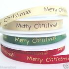 Merry Christmas Satin Ribbon Red, Green, Cream PER 3 METRES 10MM Wide