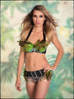 2 Piece Bra Top & Hip Belt Green Feather Tribal Burlesque Costume Belly Dance