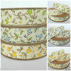 10 metre roll floral cotton ribbon, 15mm wide blue, lemon or green