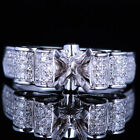 Sterling Silver/Solid 10/14K White Gold 5.5-6.5mm Round Semi Mount Diamond Ring