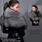 Extra WIDE full fur PELERINE collar boa cape Silver/Blue Ranched Fox & Raccoon