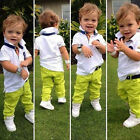2Pcs Toddler Baby Kids Boys Clothes White Shirt + Green Pants Set Outfits New