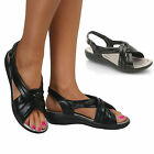 Ladies Slingback Peep Toe Low Mid Wedge Heels Comfort Casual Summer Sandal Shoe