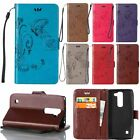 Embossed Flower Flip Leather Wallet Card Holder Stand TPU Case Cover for LG