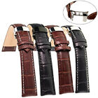 Genuine Leather Stainless Steel Butterfly Clasp Buckle Watch Band Strap 18-24mm