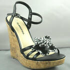 NEW SEXY AND CLASSY HIGH HEEL BLACK FLOWER STRAPPY PLATFORM WEDGE SANDAL