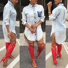 Women Punk Dress Casual Short Club Mini Long Sleeve Denim Jean Shirt Dress EW
