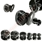 Black UV Marble Swirl Ear Tunnel Stretcher Expander CHOOSE SINGLE OR PAIR